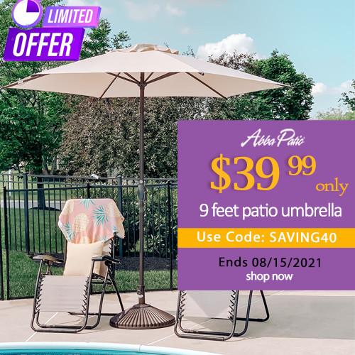 abbapatio.com - $40 Off on Abba Patio 9 Feet Market Umbrella