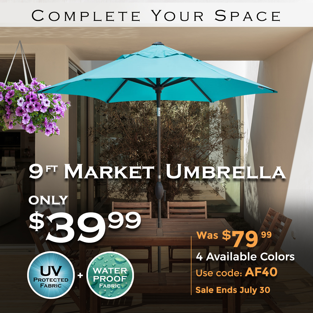 $40 Off! 9ft Market Umbrella Only $39.99 Now! Use Code AF40. Ends 7/30/2019.