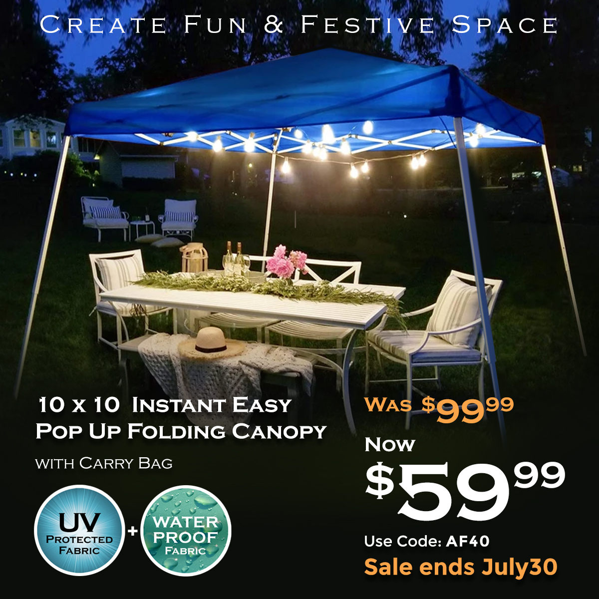$40 Off! 10 X 10 Instant Easy Pop Up Folding Canopy Hot Sale! Use Code AF40. Ends 7/30/2019.
