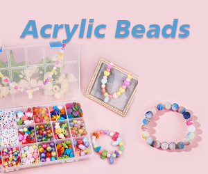 Large selection of acrylic beads are available in vivid colors and shapes