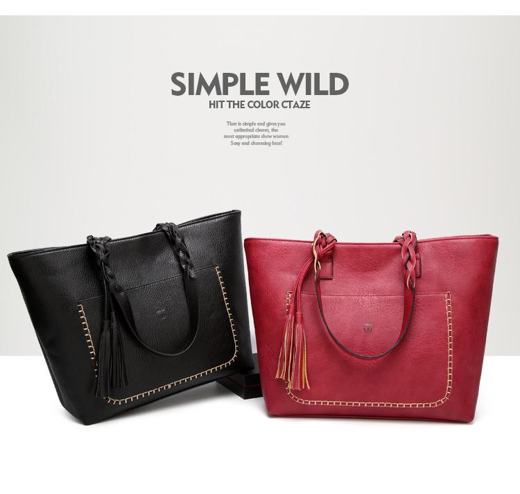 Elegant Casual Women's Tote Tassel Handbag
