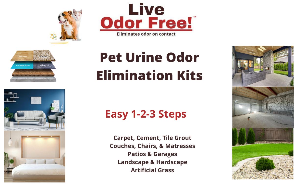 Pet Urine Odor Solution Kits for Carpet, Cement, Patios, Garages, Basements, Yards, and Artificial Grass