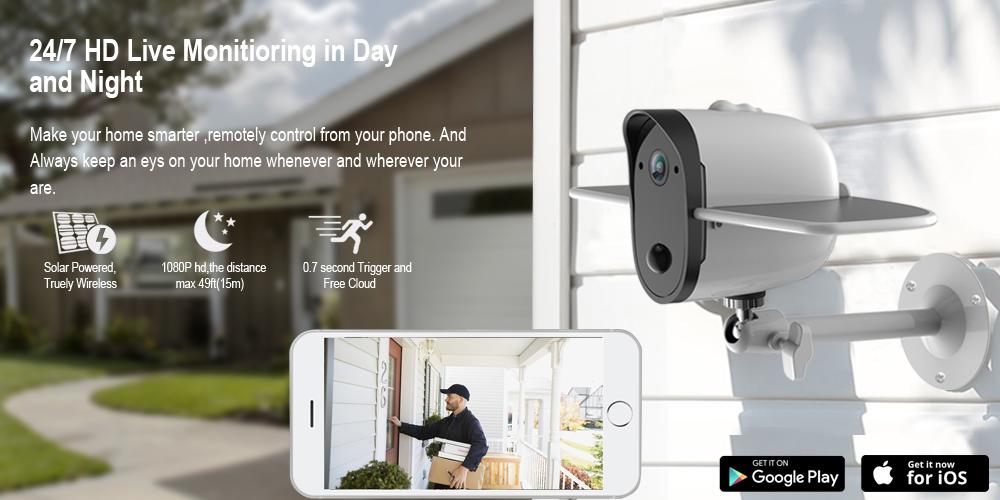 Outdoor Wireless Solar Home Security Camera
