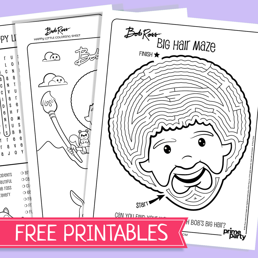 Bob Ross Free Activity Printables