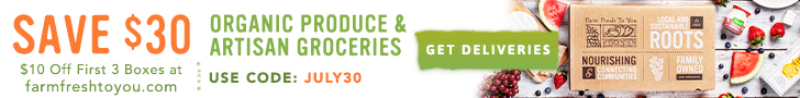 $10 Off First 3 Boxes of Organic Produce & Artisan Groceries