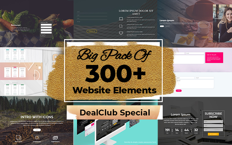 Big Pack Of 300+ Website Elements – Templates, Blocks, Tables , Forms & More…