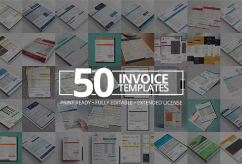 A Print-Ready, Fully Editable Bundle Of 50 Modern Invoice Templates