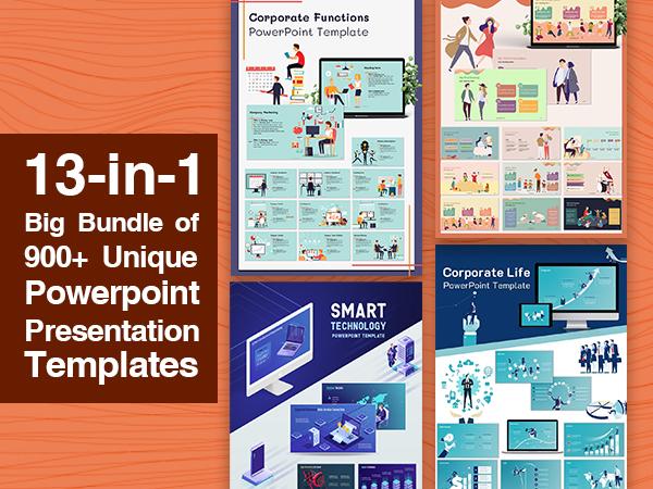 13-in-1 Big Bundle of 900+ Unique Powerpoint Presentation Templates