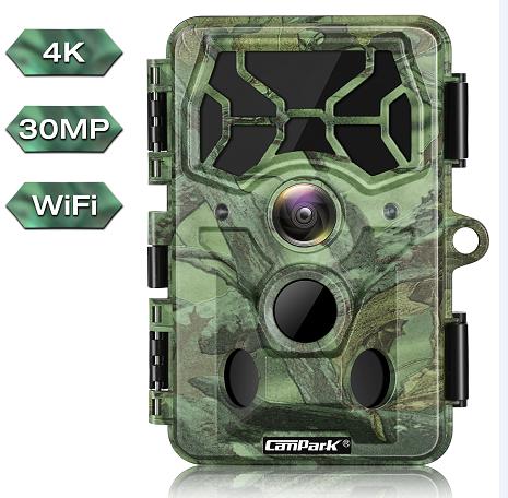 Campark T100 4K 30MP WiFi Bluetooth Trail Game Camera