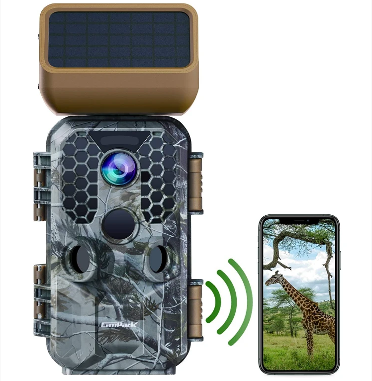 Campark T200 Solar Panel Trail Camera 30MP 4K Native WiFi Bluetooth Game Camera with Night Vision Motion Activated Waterproof Wildlife Camera