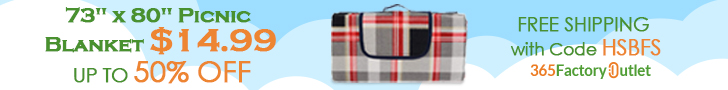 """Hot Sale! 73"""" x 80"""" Picnic Blanket Start from $14.99 Plus Free Shipping! Code HSBFS."""