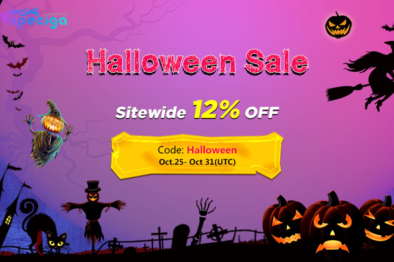 Coupon code Halloween for Vapeciga sitewide 12% off discount!