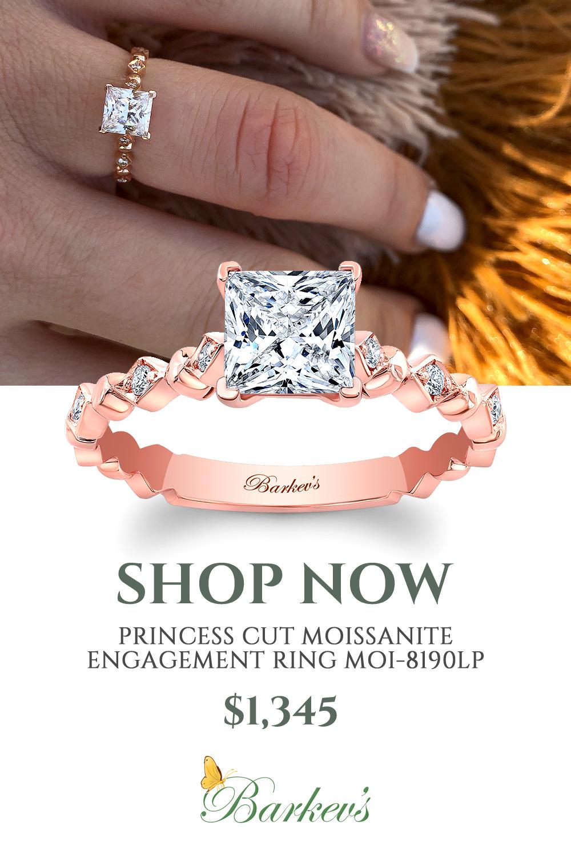Rose Gold Princess Cut Moissanite Engagement Ring