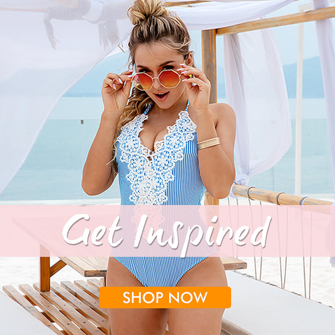 Enjoy your vacation with this Halter Lace Patchwork One Piece Swimsuit. Halter Lace Patchwork One Piece Swimsuit | Blooming Jelly