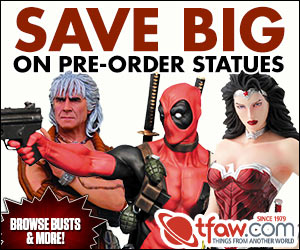 Save 20 on all pre-order statues at TFAW.com!
