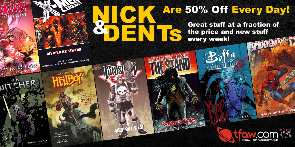 Save 50% on graphic novels, statues & more!