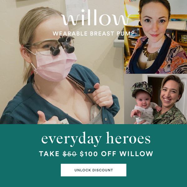 Willow wearable breast pump: Take $100 off Willow.