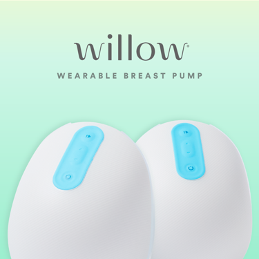 A product promo image of the Willow wearable breast pump.