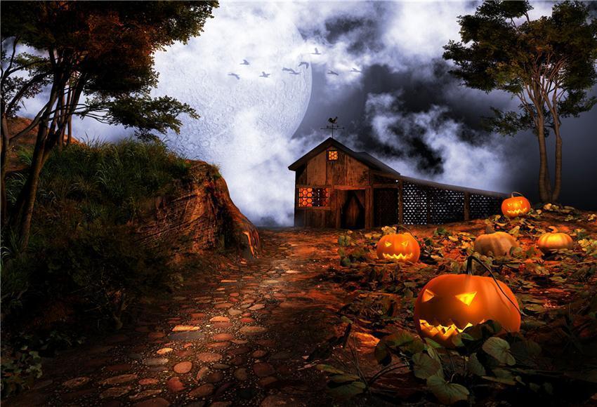 Rustic Barn Halloween Photo Studio Backdrops - 850 x 850