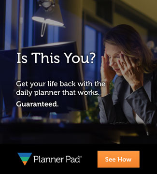 Planner Pads Stressed Businesswoman Banner