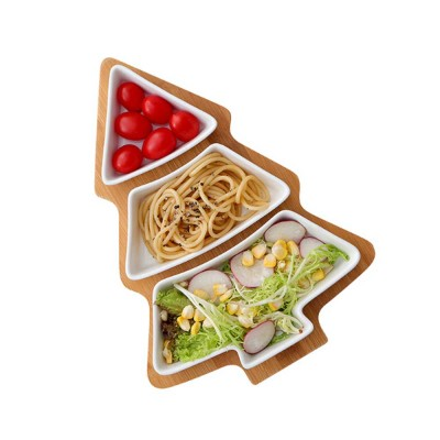 Creative Christmas Tree Pattern Ceramic Bamboo Tray Was: $25.01 Now: $22.01.