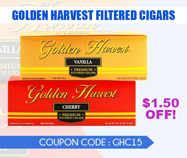 GOLDEN HARVEST SLIDE email JUNE 2021 - Golden Harvest Filtered Cigars $1.50 Off!