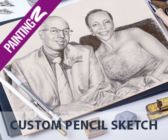 Custom colorful or black-and-white pencil sketches at PaintingZ.com.