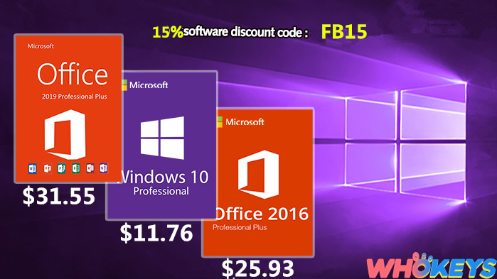 Windows 10 pro only $11.76,office 2016 just $25.93,choose what you need on Whokeys!
