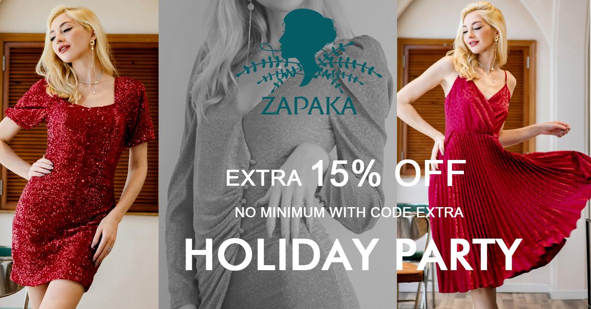 Extra 15% Off Holiday dresses on Zapaka