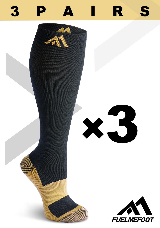 3 PAIRS Copper Compression Socks