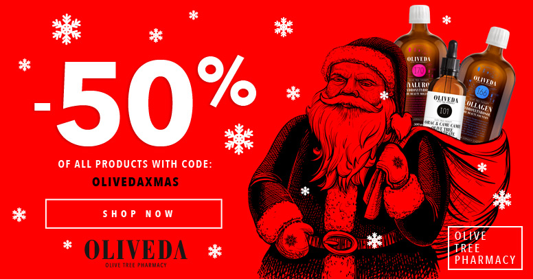 OLIVEDAXMAS 50% Off of All Oliveda Products Banner