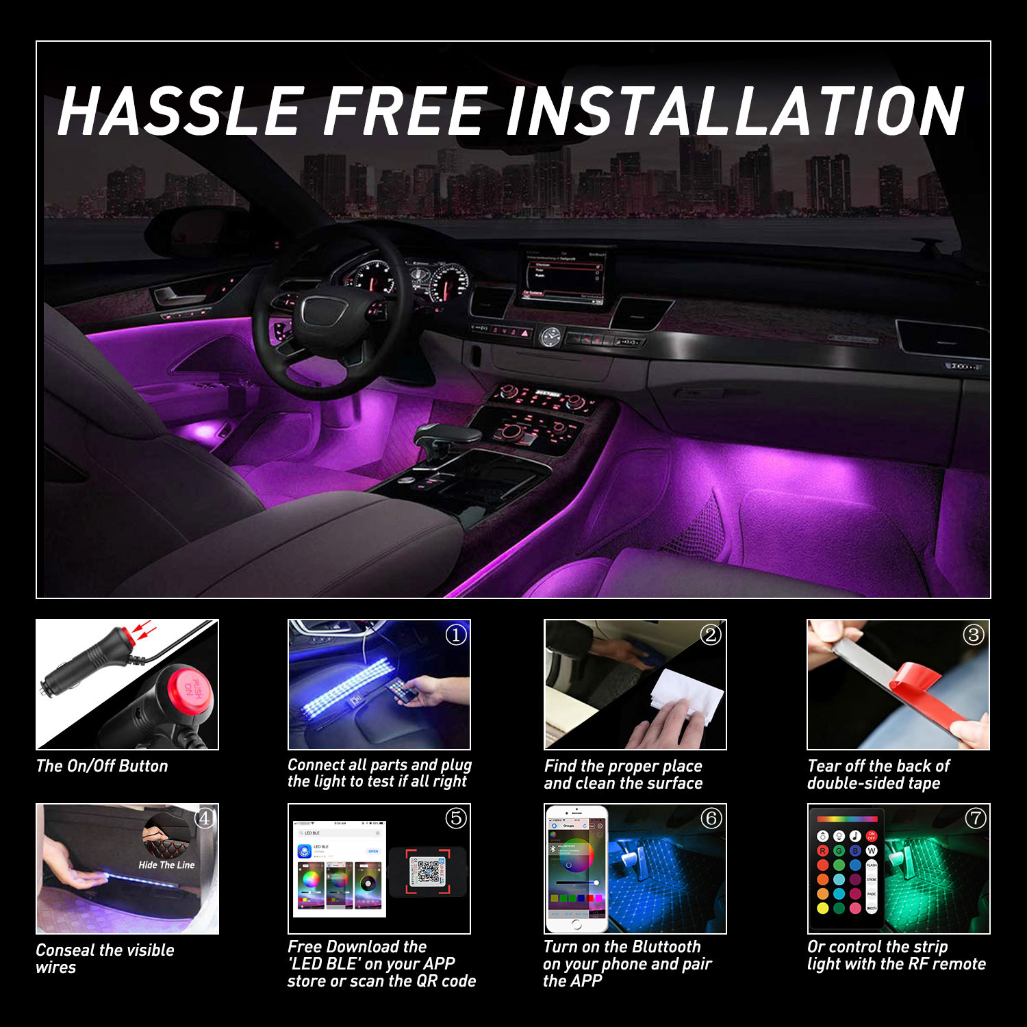 AUXITO Car LED Strip Lights, Multi-Coloured Music Car Interior Lights Under Dash Lighting Kit, RF Remote with 16 Fix Colors and APP Control, Sound Active Function