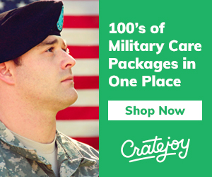 soldier in uniform in front of American flag with text about subscription box service