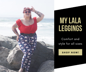 plus size clothing model in baseball designed leggings a red shirt and red heart glasses with a beach background to the imaging