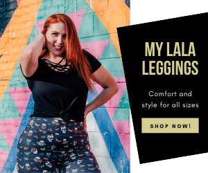 Red head plus size model looking back  in skull designed leggings with moths over skull mouth.
