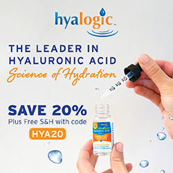 "250 x 250 Hyalogic ""The Leader in Hyaluronic Acid"" Banner with 20% Off HYA20 Code"