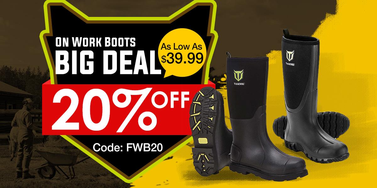 20% off on Tidewe Work Boots,Use code FWB20