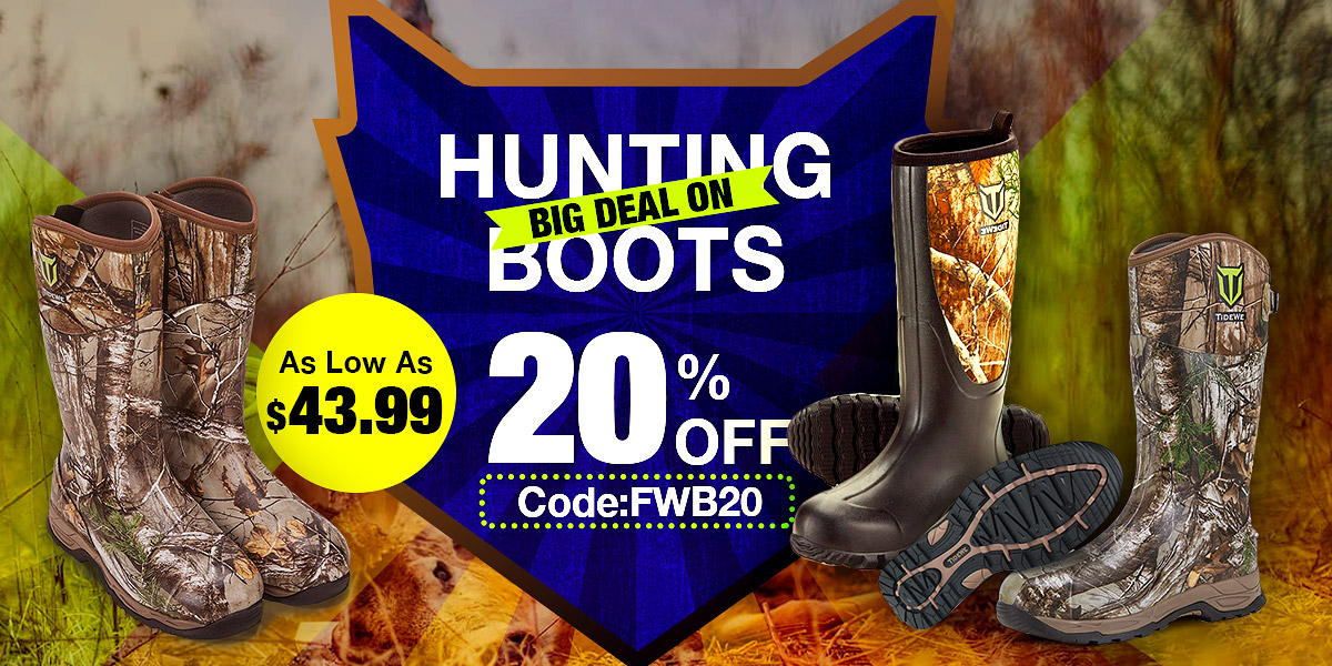 20% off on TideWe hunting boots & work boots