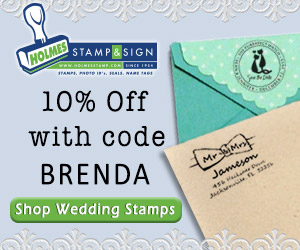Save 10% on wedding stamps with code BRENDA