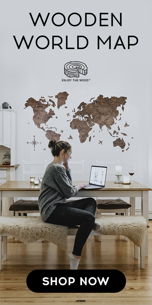 WOODEN WORLD MAP CUT OUT TRAVEL 2D WALL MAP