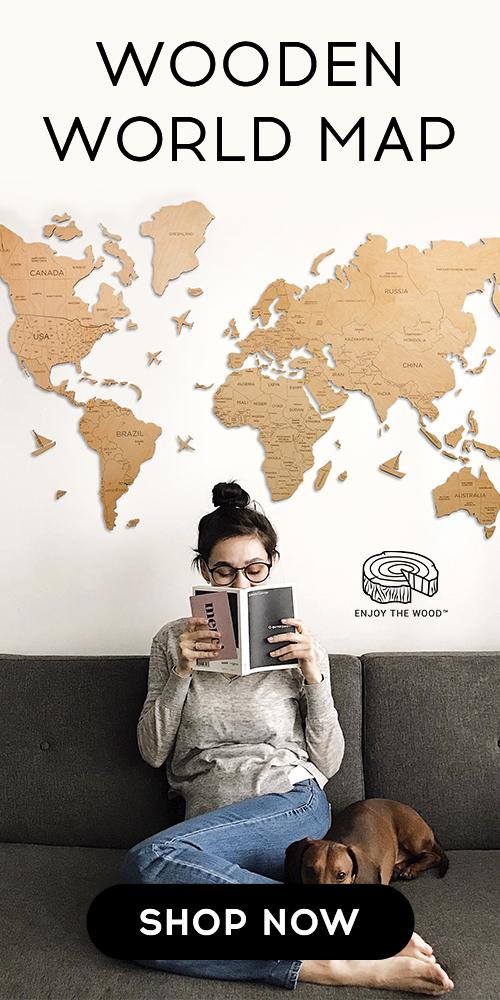 TRAVEL WALL WOODEN WORLD MAP 2D HOME DECOR