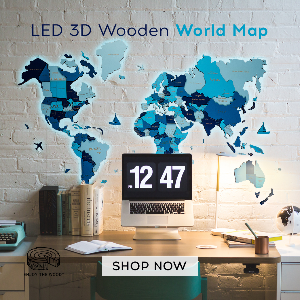 LED 3D Wood Art World Map Multilayered Unique Gifts