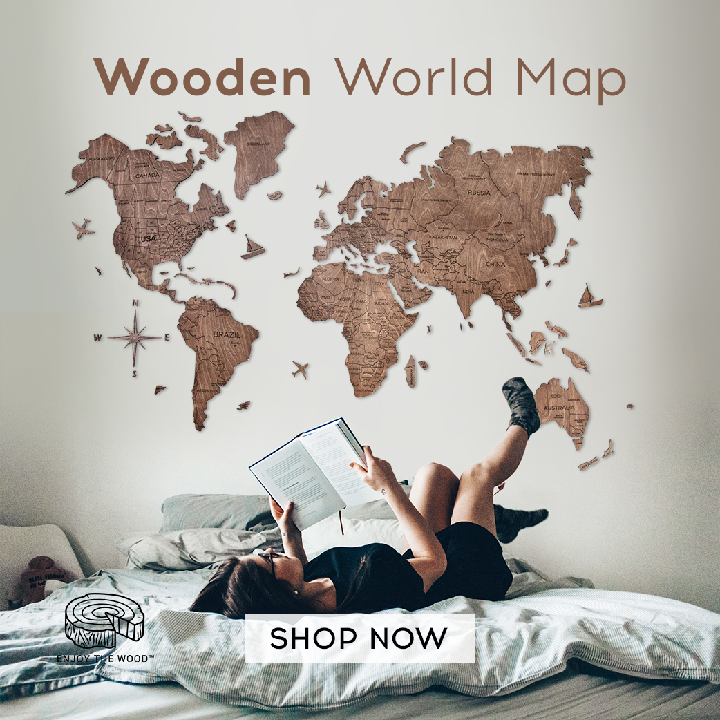 Wooden World Map Cut Out Travel Wall Map
