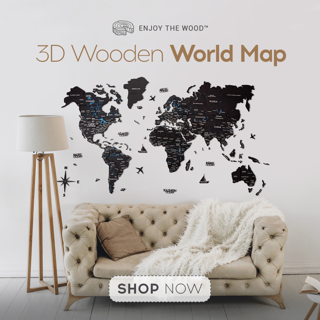 World Map Print Wooden World Map Push Pin World Map with Lakes