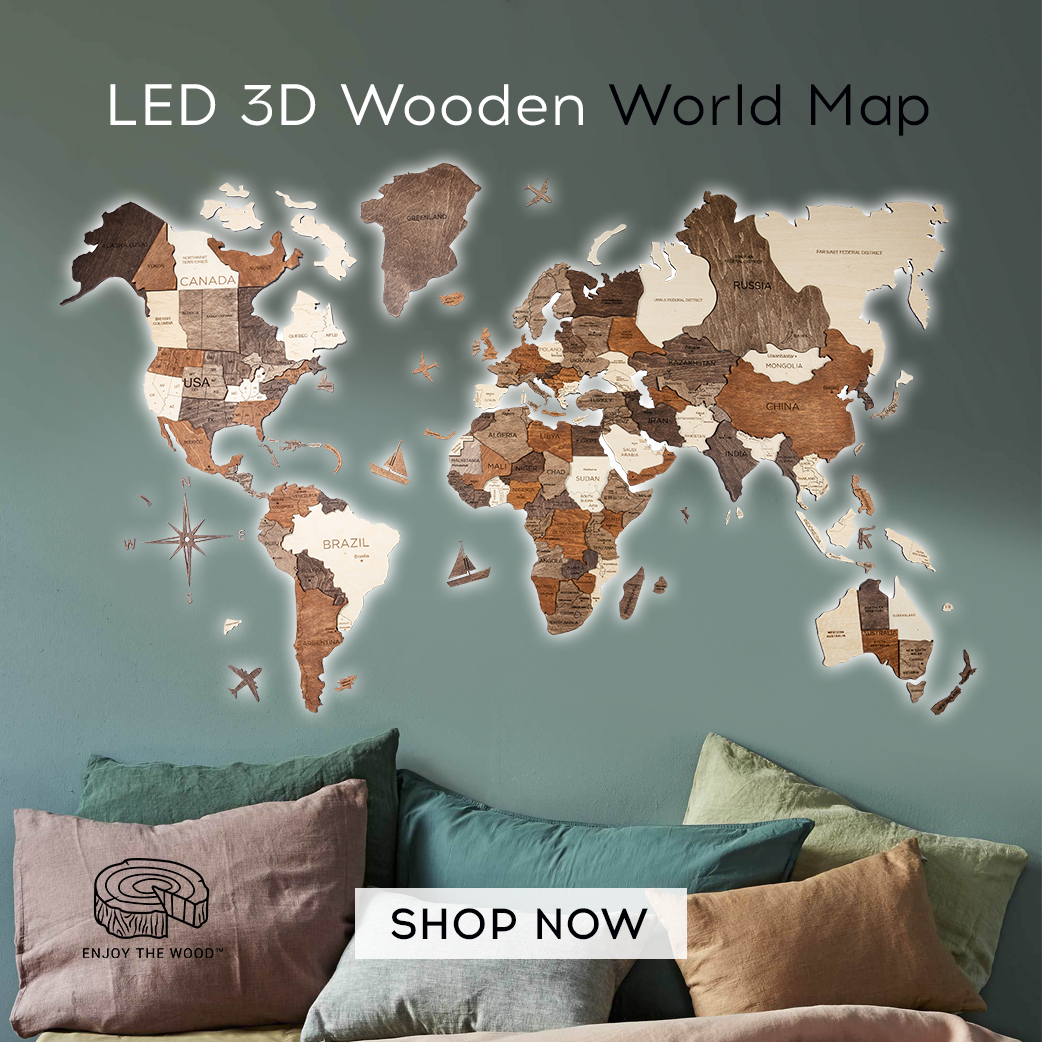 3D LED Multilayer World Wall Map Unique Gift Ideas