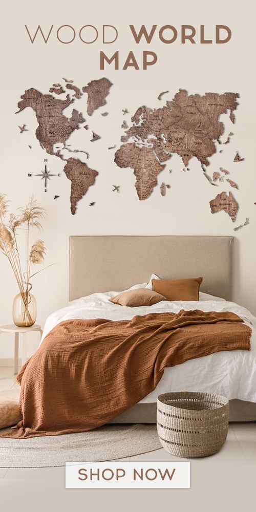 World Map Print Wooden World Map Push Pin World Map