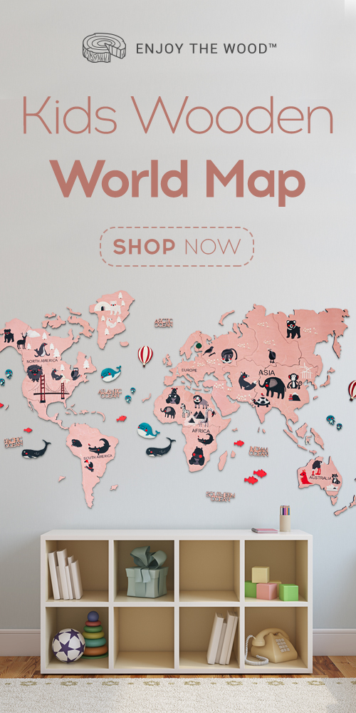 Kids Wooden World Map Enjoy The Wood