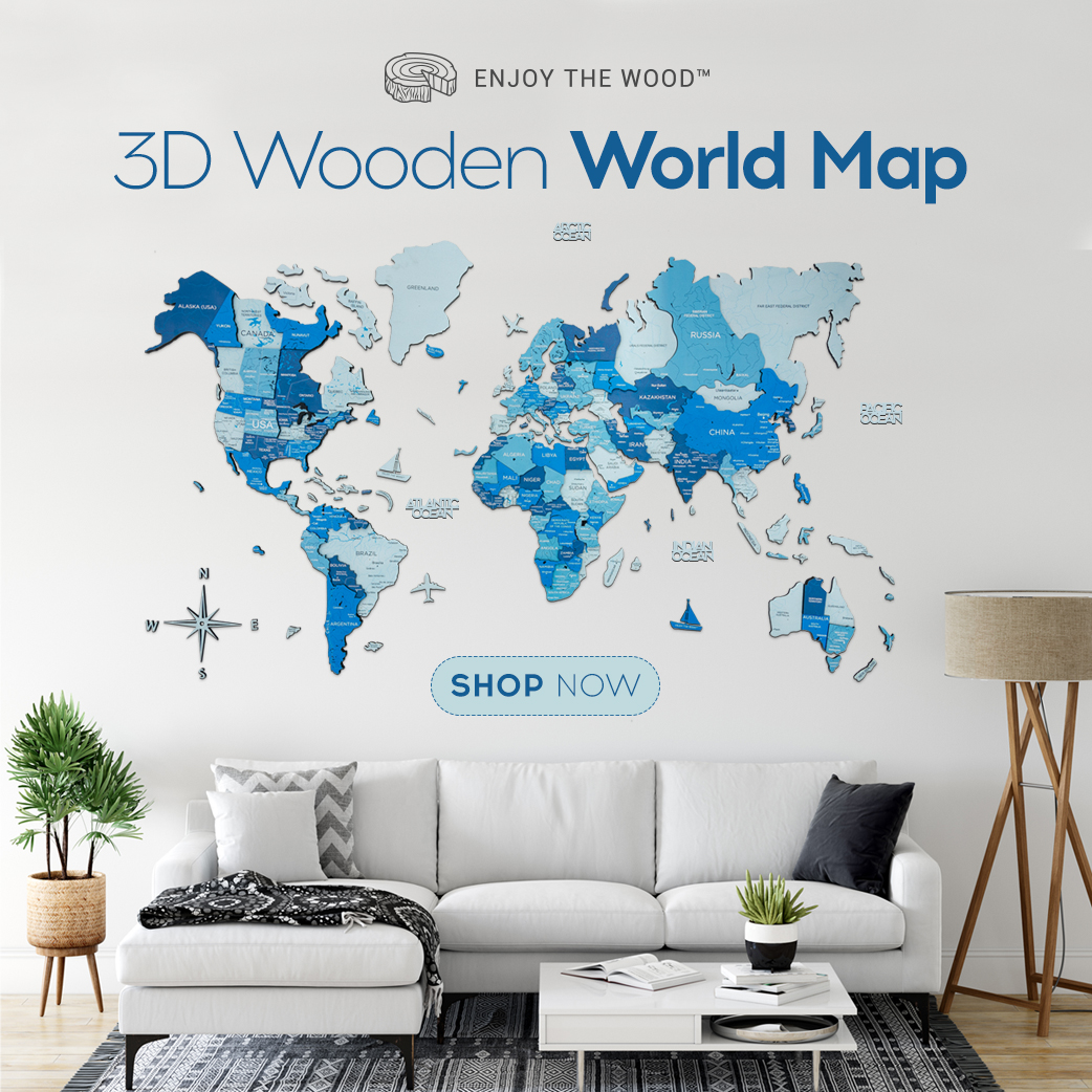 3D Wood Art World Map Multilayered Unique Gifts
