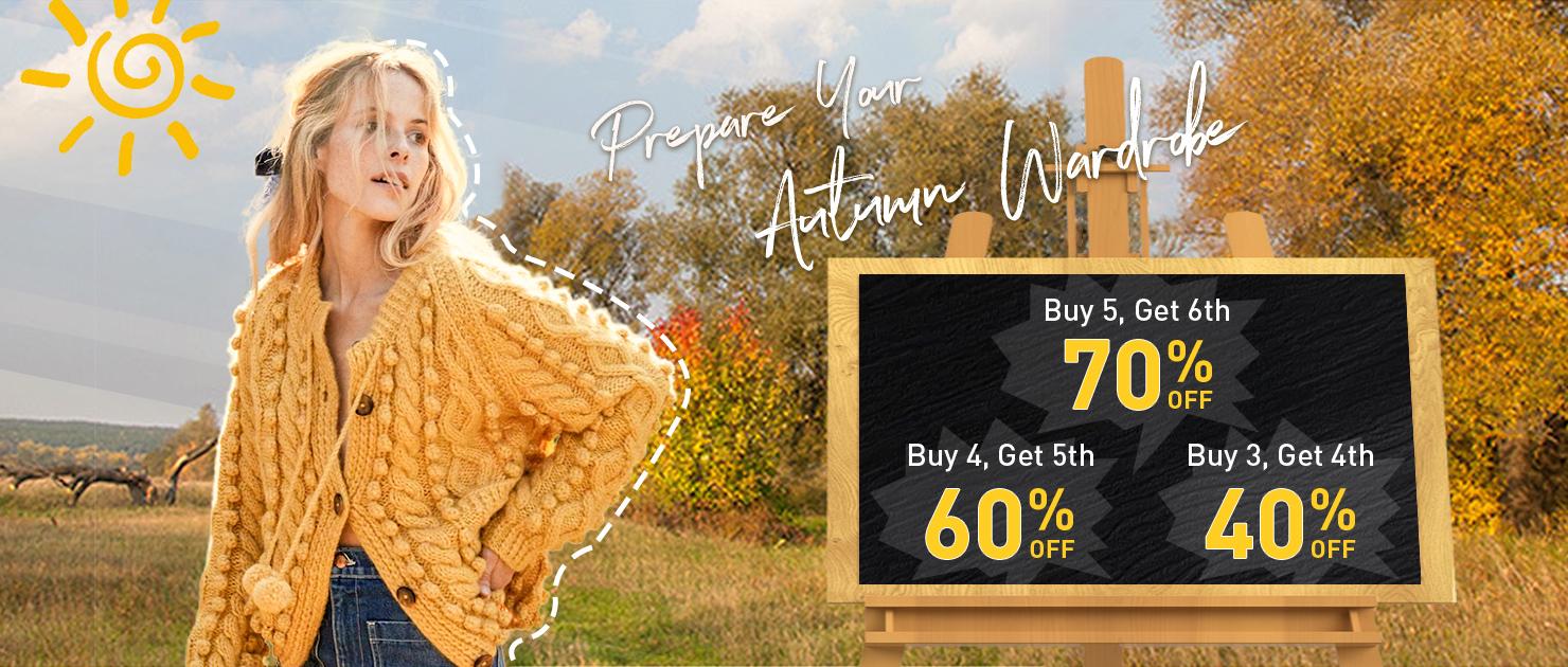 Prepare Your Autumn Wardrobe Buy 3,  Get 4th 40%OFF