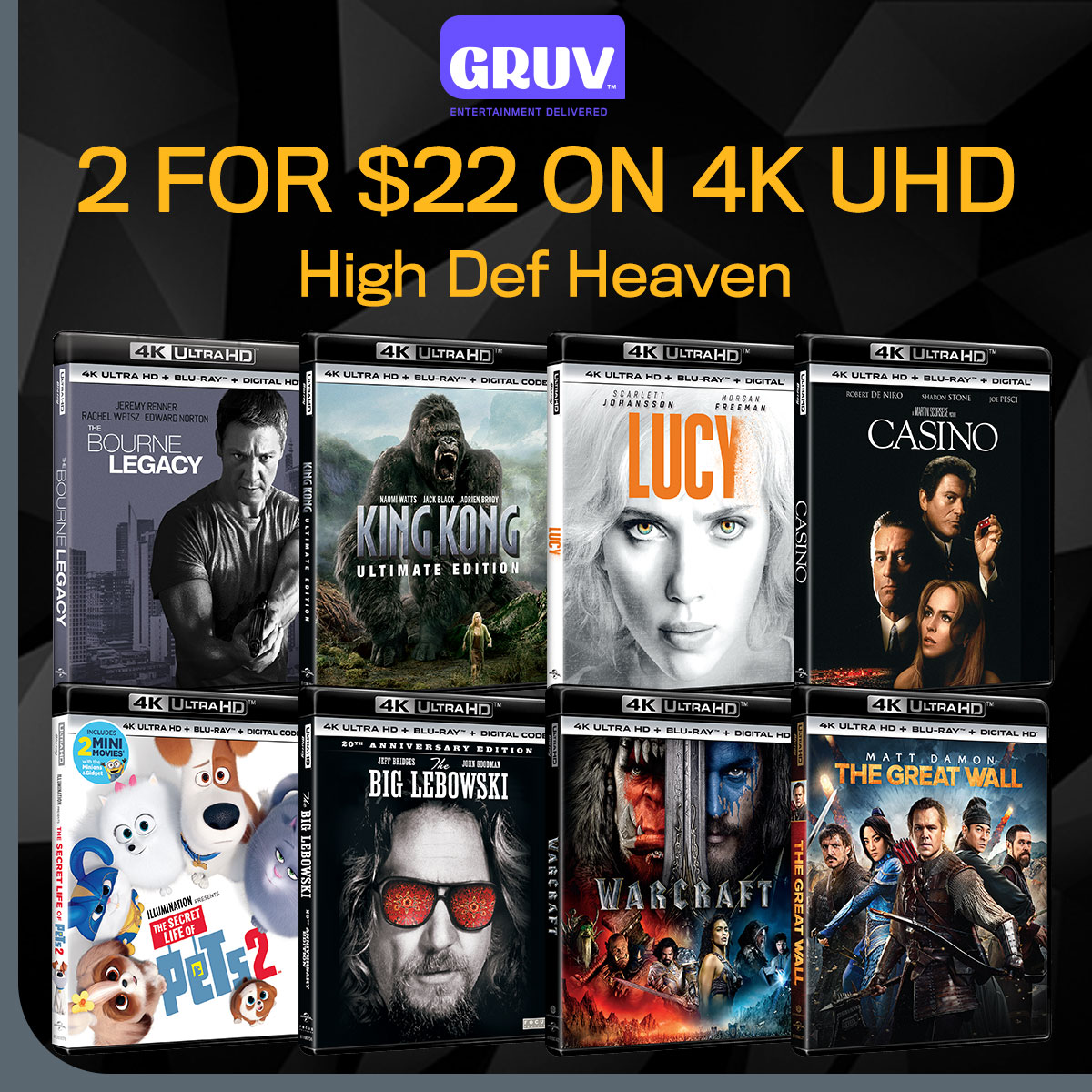 Get 2 4K UHD Movies For $22